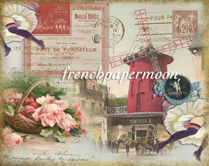 Vintage Shabby French Postcard Graphic, Moulin Rouge, Vintage Paris, Dancers, Roses, Large Image Graphic Transfer
