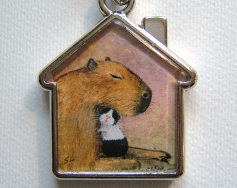 GUINEA PIG & CAPYBARA Keyring, keychain, handbag charm with print from original painting by Suzanne Le Good