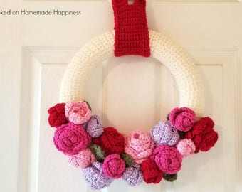 Valentine's Day Crochet PATTERN - Wreath Crochet Pattern - Home Decor Crochet Pattern - Flower Crochet Pattern