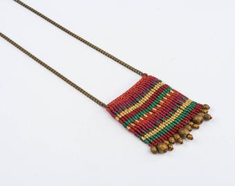long macrame necklace - colorful macrame necklace - boho necklace with gold plated hematite beads !
