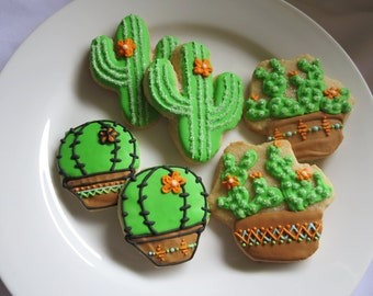Cactus Cookies, Succulents Cookies, Cactus, Southwest, Fiesta, Mexican, Sugar Cookies, Succulents, Potted, Arizona, New Mexico, Summer