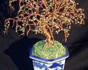 Beaded Bonsai Glass Beaded Wire Tree Sculpture. Original, one of a kind, by Sal Villano