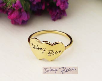 SALE 20% OFF - Signature Double Heart Ring - Handwriting Engraved Ring - Gift For Women - Memorial Gifts