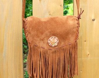 Leather Fringe Bag - Hummingbird Handbag - Leather Bag - Boho Fringe Bag - Crossbody Bag - Western Purse - Brown Leather Bag - Brown Purse
