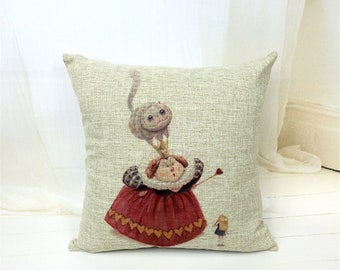 Alice in Wonderland Vintage Queen of Hearts Cushion Cover Cotton Blend Hessian Look