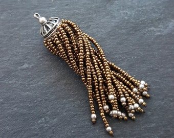 Long Bronze Beaded Tassel -  Matte Silver Plated Brass - 1PC