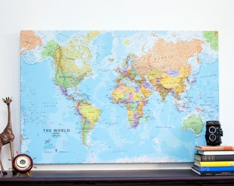 Canvas Political World Map Print - wall map, free shipping, gift for him, gift for her, world map, canvas map, gift, home decor, living room