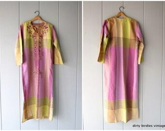 70s Egyptian Caftan Donia Al Nagham Intricate Embroidered Lounge Dress Vintage Boho Floral Kaftan Hippie Tribal Ethnic Womens Small Medium