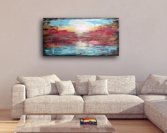 Large Abstract painting original. Large abstract colorful, abstract landcape canvas painting, colorful abstract landscape painting ON SALE