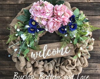 Burlap Wreath with Pink Hydrangeas and Navy Blue Daisies