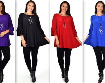 New Designer Tunic, Plus size Tunic,  Chic Tunic, Ruffle Tunic, for Office, Party,Travel and Much More. XL,1XL,2XL,3XL