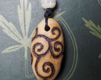 Beech Wood Spiral Pendant  - on cord - for Knowledge- Pagan, Wicca, Witchcraft