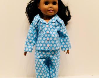 "DN12- 18"" Doll Pyjama Outfit: Soft blue-on-blue flower pyjama set for Maplelea and American Girl"