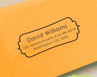 CUSTOM ADDRESS STAMP, personalized pre inked address stamp, pre inked custom address stamp, mustache , address stamp with proof - Stamp b5-7