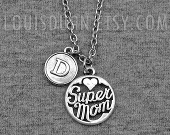 Super Mom Necklace -Mother's Day Necklace -Initial Charm Necklace -Your Choice of A to Z