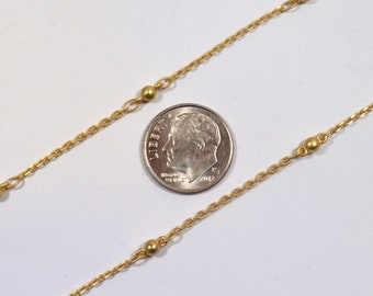 Fine Ball & Cable Chain - Matte Gold - CH85-MG - Choose Your Length