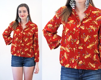 Love Finch, 70s Bird Print Blouse S, Novelty Print Birds Goldfinch Vintage Rayon Yellow Red Bohemian Women's Shirt, Small