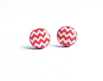 Zig zag earrings studs, chevron stud earrings, white red post earrings