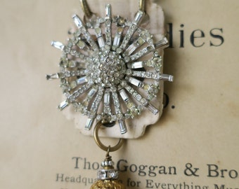 Vintage Rhinestone Found Object Necklace