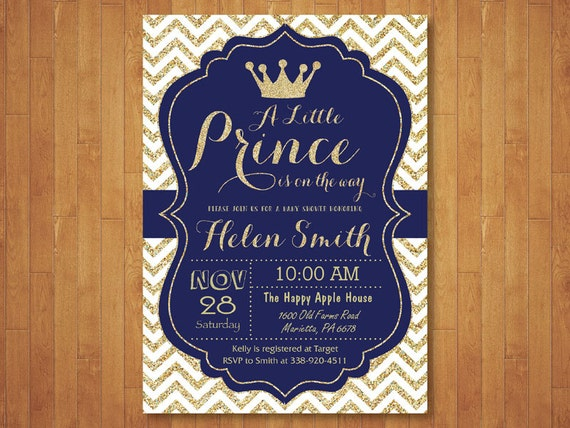 Prince baby shower invitation royal blue and gold crown baby filmwisefo