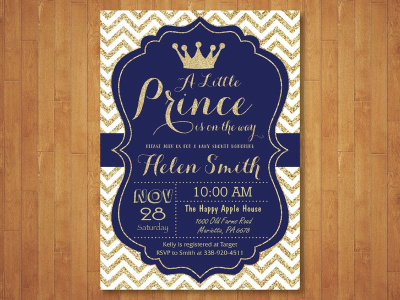 Prince Baby Shower Invitation. Royal Blue and Gold. Crown Baby