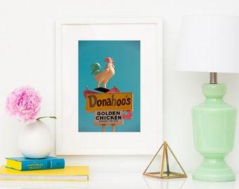 Donahoo's Golden Chicken Print | Pastel Art | Pink Mid Century Wall Art | Los Angeles Art | Retro Kitchen Decor | Los Angeles Print