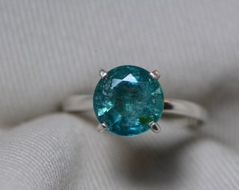 Emerald Ring, Emerald Engagement Solitaire Ring 2.55 Carats Appraised At 2,050.00, Sterling Silver, Genuine Real Natural Emerald Jewelry