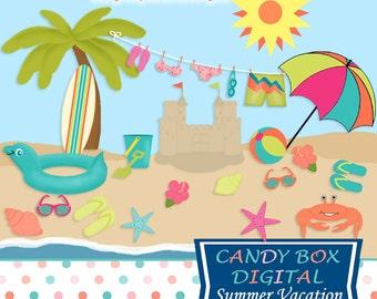Summer Beach Clipart, Vacation Clip Art - Commercial Use OK