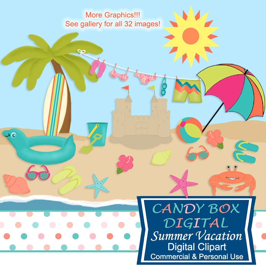 Summer Beach Clipart Vacation Clip Art Commercial Use OK