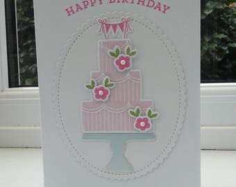 Pink Happy Birthday Cake Card with Bunting; handmade with MFT stamps