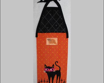 Kitchen Towel - Quilted Top with Ties - Halloween - Black Cat in Mask - Plush