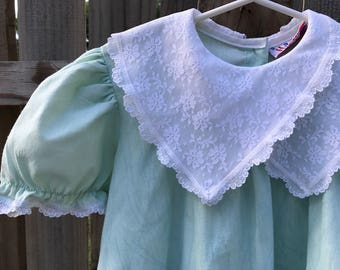 Lace Collar Green Dress - 4T