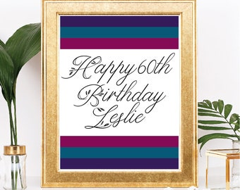 Printable Happy Birthday Sign - Modern Style with Jewel Tones and Floral Accents - Customizable Text - Script Font - Digital Download