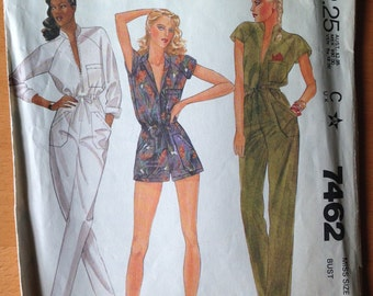 Vintage 1980s Jumpsuit Pattern- Pants and Shorts // McCall's 7462, size 6, 80s