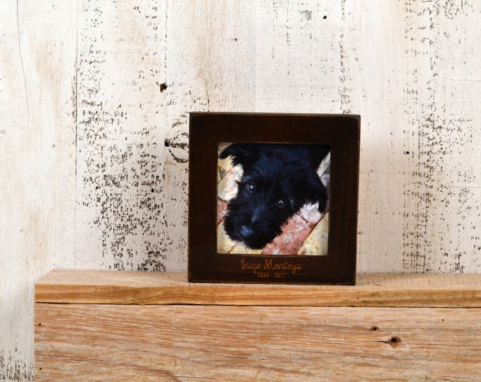 4x4 Pet Memorial Frame Custom Engraved in Finish COLOR of YOUR CHOICE - Picture Frame  Custom Engraving Pets - Square 4 x 4  inch Frame