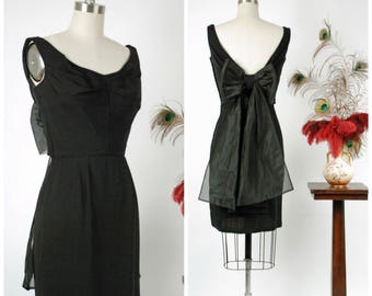 Vintage 1960s Dress - Rare 60s Dorothy O'Hara Cocktail Dress with Pleated Bust and Giant Organza Back Bow From Incredible Collection