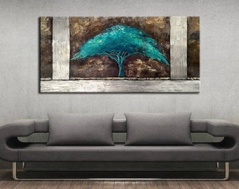 ABSTRACT PAINTING- Original Canvas Art Contemporary Abstract Modern Art  . Turquoise tree