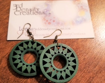 Green Wood and Antique Gold Earrings