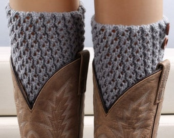 Knitted Button Boot Cuffs - Stretchy - Harbor Mist Blue Gray - Faux Leg Warmers - Boot Toppers