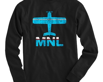 LS Fly Manila T-shirt - MNL Airport Long Sleeve Tee - Men and Kids - S M L XL 2x 3x 4x - Manila Philippines Shirt, Filipino - 2 Colors