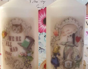 Vintage Style Alice In Wonderland Decorative Candles