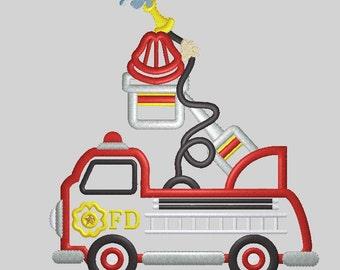 Firetruck Applique Embroidery Design