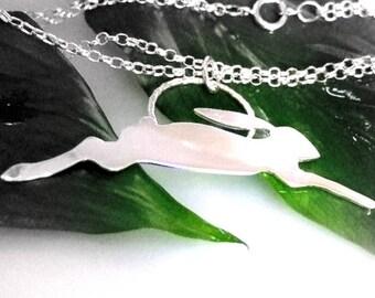 Silver Running Hare Pendant