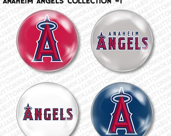 Set of 4 Mini Pins / Buttons - ANAHEIM ANGELS california la baseball mlb (choose your style!)