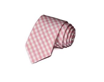 Pink Gingham Necktie~Anniversary Gift~Wedding Tie~Mens Gift~Boys Necktie~Mens Necktie~Wedding~HoBo Ties~Mens Tie~