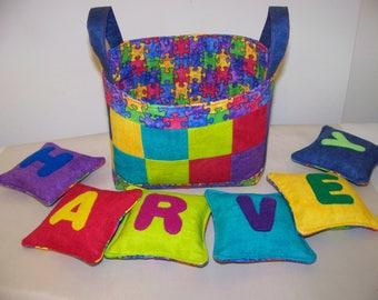 Personalized Bean Bags and Basket