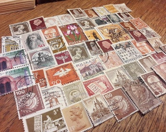 50 Brown and shades of brown Postage Stamps – Worldwide lot