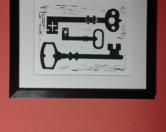 Black Keys handmade linocut print by Katrina Wallis-King - folk art, gothic, new home, coming of age, turning twenty-one