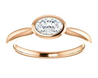 10K Rose Gold 6x4mm .50ct Oval East West Bezel Set Ring