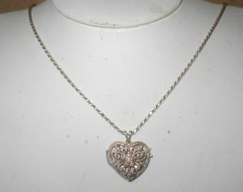 Vintage Sterling Silver Heart Locket and Chain